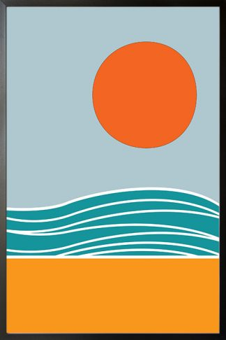 Beach Minimal Abstract poster with frame