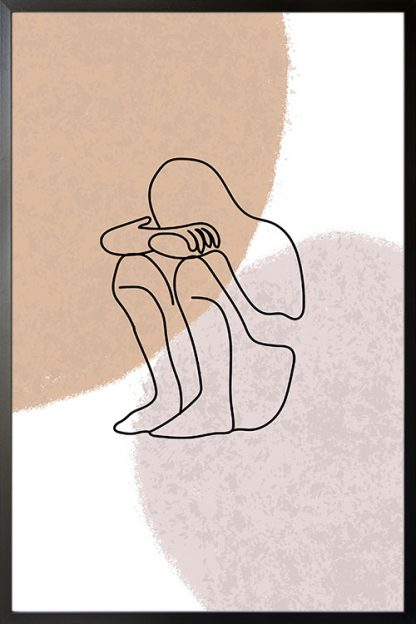 Emotional Statue Line poster with frame