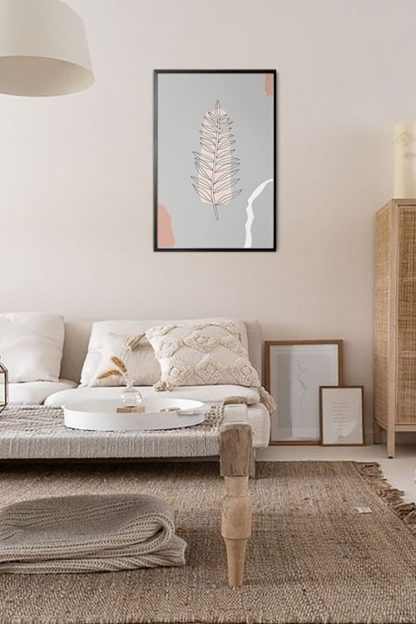 Leaves and abstract shape poster in interior