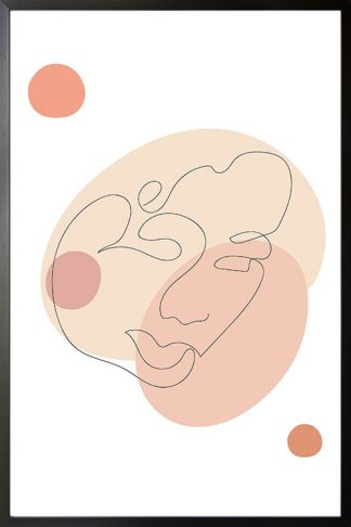Minimal Abstract shape and Face poster with frame