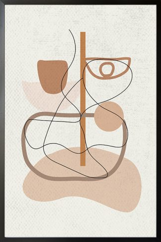 Graphical shape and abstract feel poster with frame