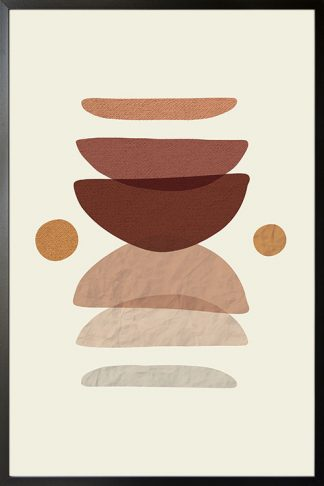 Neutral tone abstract shape poster with frame