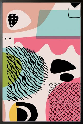 Abstract shapes freehand lines poster with frame