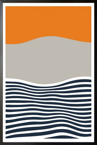 Abstract sunset with gray mountain poster with frame