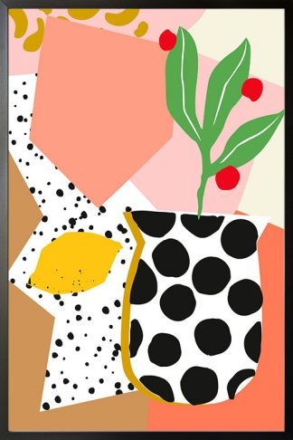 Abstract vase and lemon poster with frame