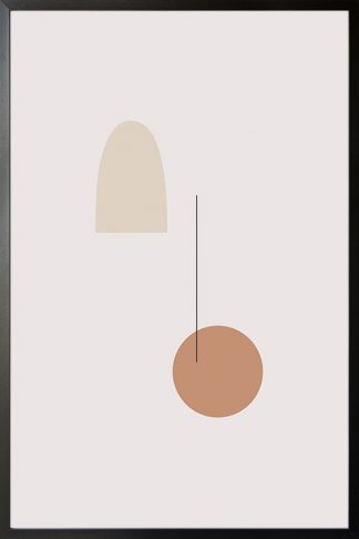Neutral geometric shape poster with frame
