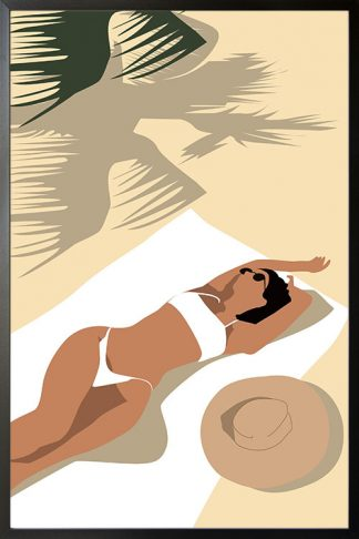 abstract sunbathe in beach poster with frame