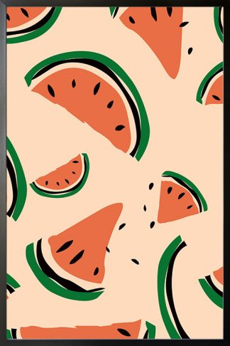 Abstract watermelon pattern poster with frame