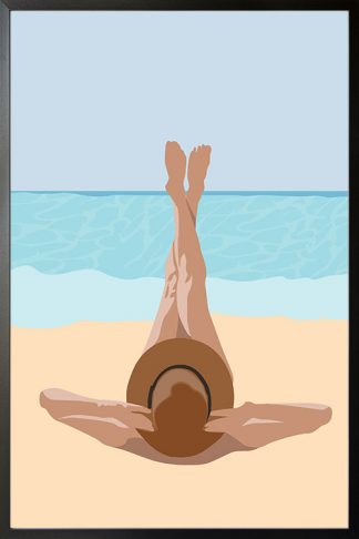 Sunbathe in beach blue water poster with frame