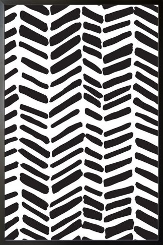 Black and white stroke pattern poster with frame