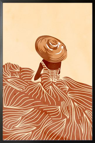 Tropical lady in lined dress poster with frame