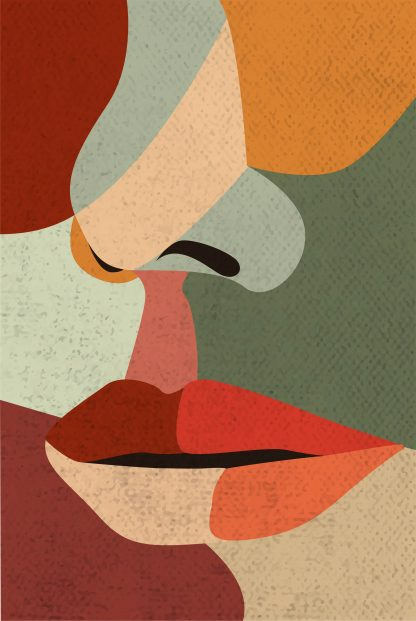 Illustrated abstract women face poster