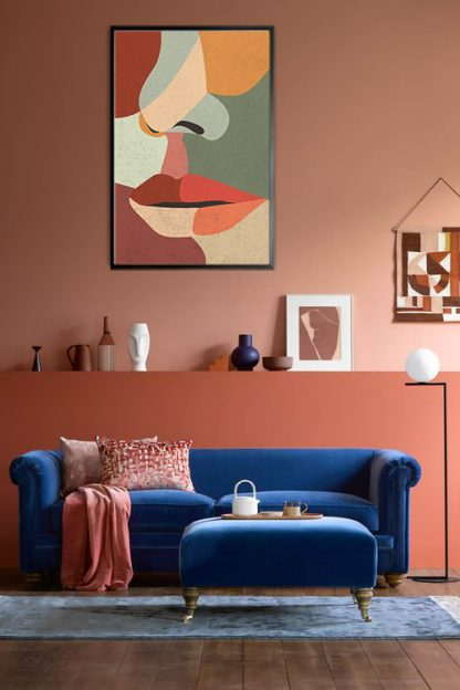 Illustrated abstract women face poster in interior