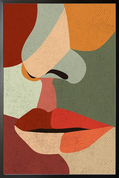Illustrated abstract women face poster with frame