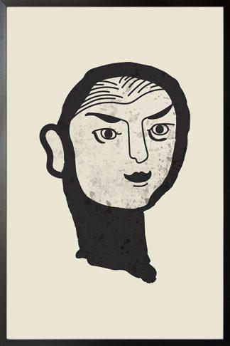 Feminine brush face poster with frame