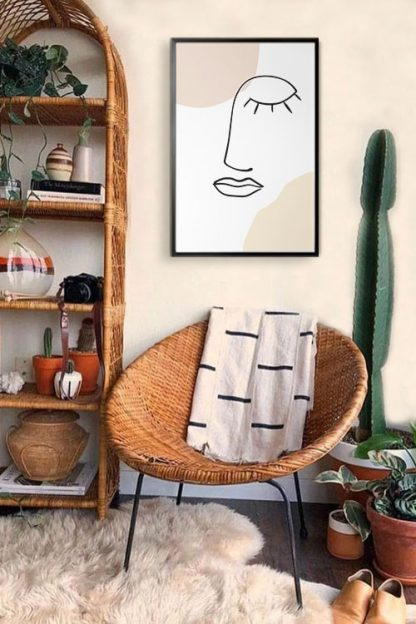 abstract and outline poster in interior