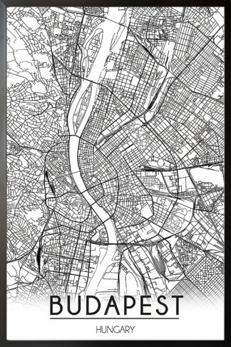 Budapest Map Line Art poster with frame