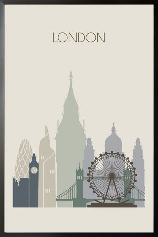 London Skyline Poster with frame