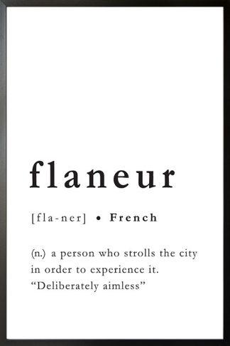 Flaneur meaning poster with frame