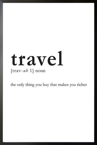 Travel meaning poster with frame