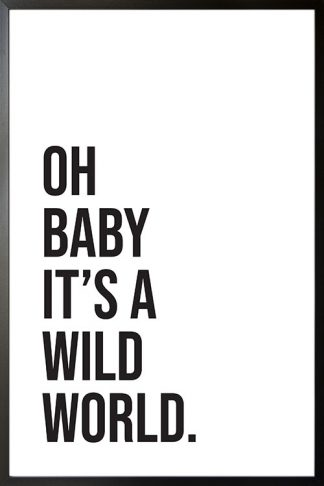 oh baby it's a wild world poster with frame