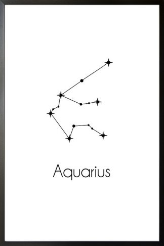 Constellation Zodiac Aquarius poster with frame