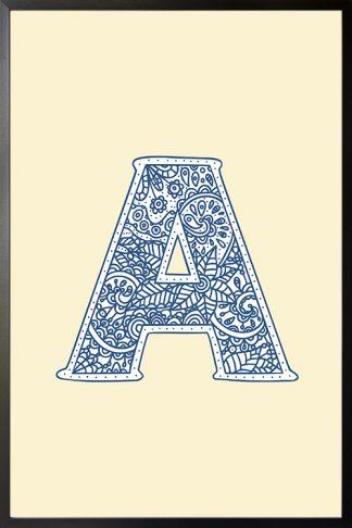Nursery letter A doodle poster
