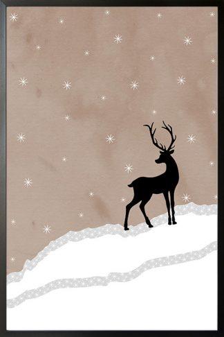 Holiday Deer in winter poster