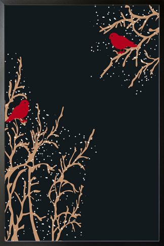 Red birds on branch holiday poster
