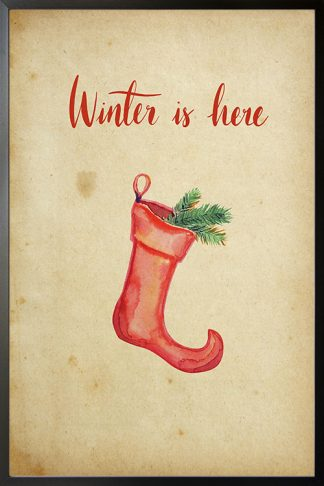 Winter is here Christmas sock poster