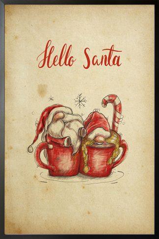 Hello santa in mug holiday poster
