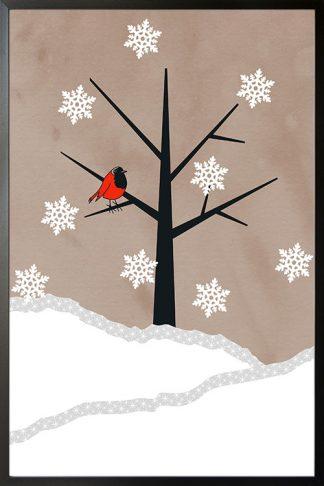 Holiday Bird on winter poster