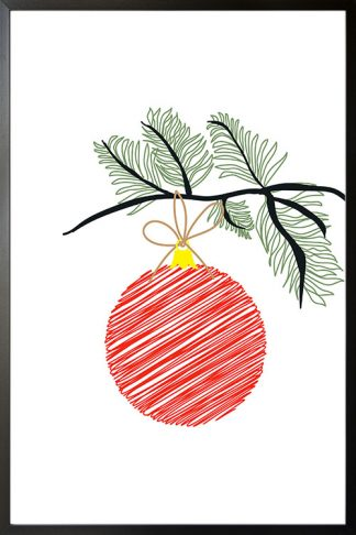 Holiday Ball on branch poster