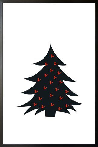Black Christmas tree and red scribbles poster