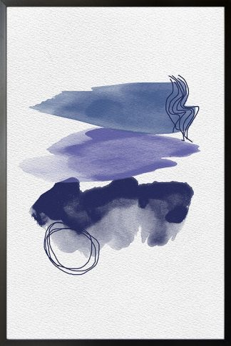 Abstract Paint Brush Blue Tones poster