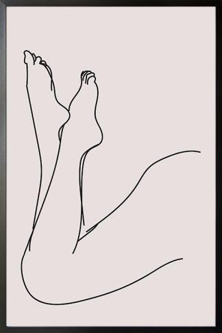 Line Art bend female legs poster