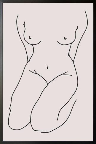 Line Art shy female body poster