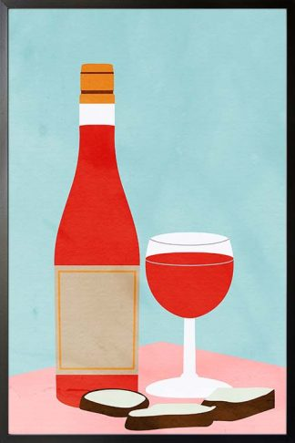Wine and bread art print poster