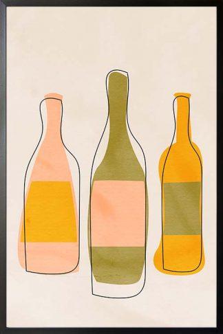 An art print poster of 3 wine bottle
