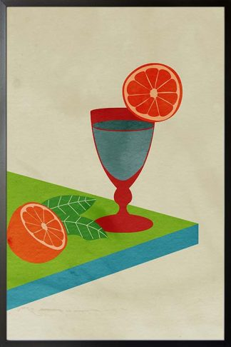 An art print poster of a cocktail glass and slice of orange
