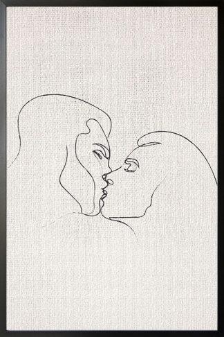 Passionate kissing illustration poster