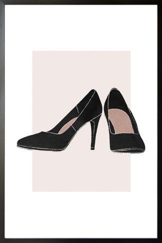 A pair of black heels illustration poster