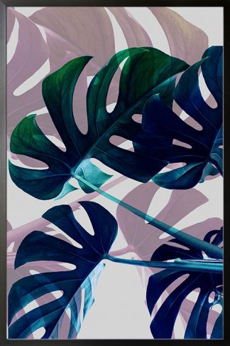 Tropical leaves in blue tone poster