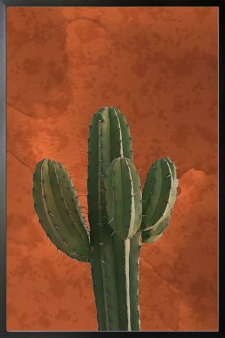 Cactus in watercolor paper background poster