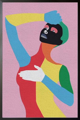 Multi color lady art print poster