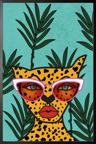 Glam leopard poster with frame