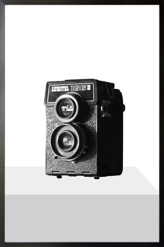 Real cam on gray tone black and white poster