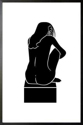 Top box naked woman black and white poster