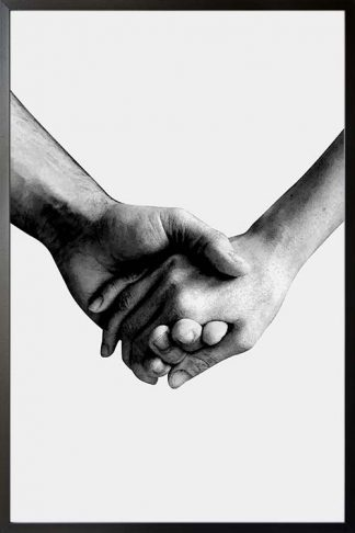 Holding hands black and white poster