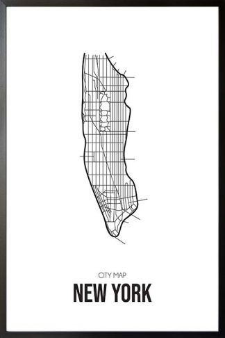 New York Map Line art poster with frame